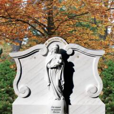 Grabmal Marmor klassisch weiß mit Maria Figur - Madonna bei Serafinum