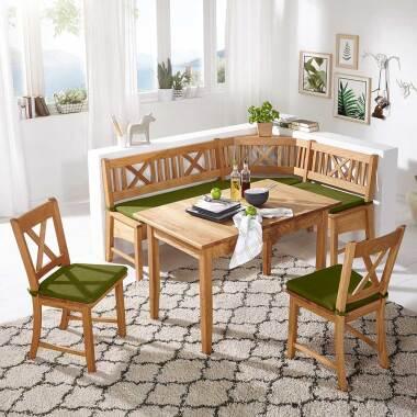 Kücheneckbankgruppe aus Wildeiche Massivholz Landhaus Design (vierteilig)