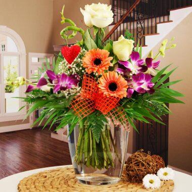 Blumenstrauß Herzensfreude Weiß-Orange