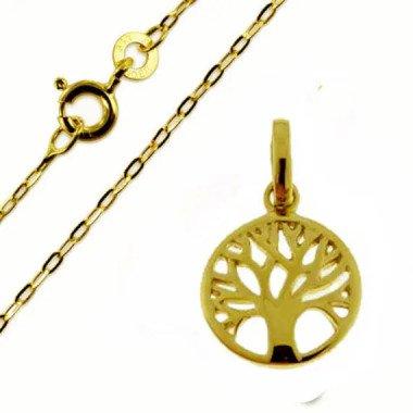 Lebensbaum Anhänger-Echt Gold /333(8 Karat Auf Wunsch Mit Ankerkette Gold333(8