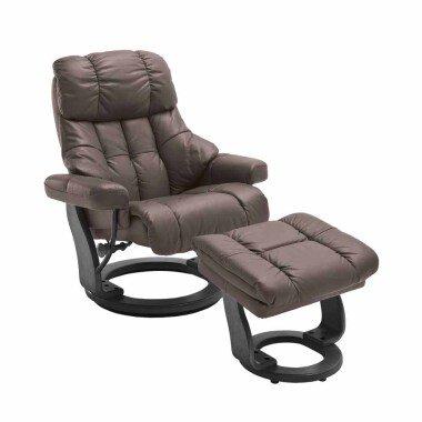 Relaxsessel in Braun Leder mit Hocker (zweiteilig)