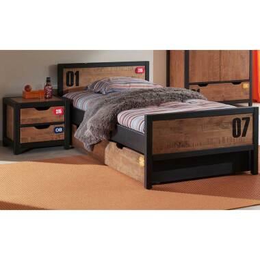 Jugendzimmer Bett in Braun Schwarz Kiefer...