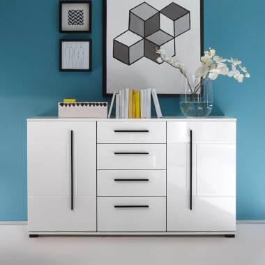 Wohnzimmer Sideboard in Weiß Hochglanz 150 cm