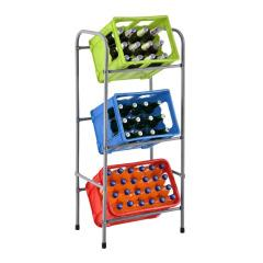 Juskys Getränkekistenregal Cool für 3 Kisten Metall 3 Ebenen 50