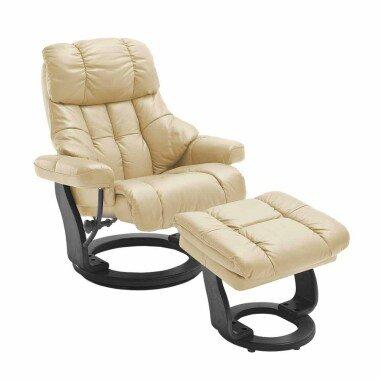 Relaxsessel in Creme Weiß Leder mit Hocker (zweiteilig)
