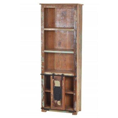 Bücherregal JUPITER-14 66x32x180cm natur, bunt recyceltes Altholz mit Metall