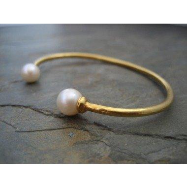 Doppelte Perle Manschette, Kultivierte Armband, Juni Geburtsstein, Natürliche