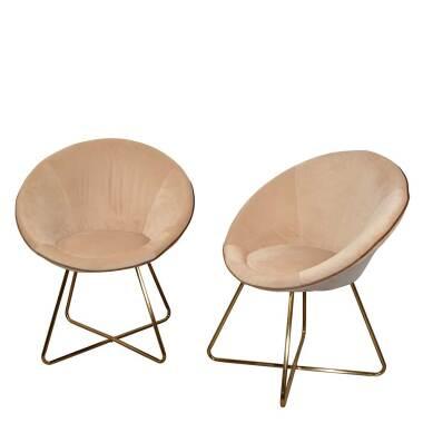 Esstisch Sessel in Creme Weiß und Goldfarben Retrostil