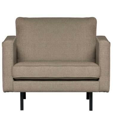 Webstoff Sessel in Graubraun Retrostil