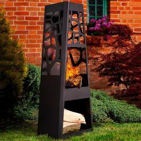 Schwarzer Gartenkamin mit Barbecue Grillrost...