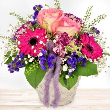 Blumengesteck Alles Liebe Pink-Blau...