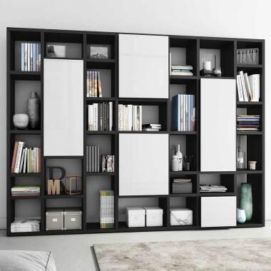 Bücher Regalwand in Eiche Schwarz Braun und Hochglanz Weiß 5-türig