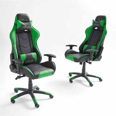 Schreibtischstuhl in Grün Schwarz ergonomisc...