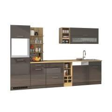 Design Küchenzeile in Grau Hochglanz 310 cm breit (neunteilig)