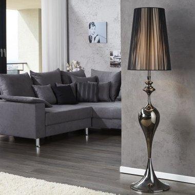 Stehlampe SCARLET Schwarz mit Standfuß aus Schwarz glänzendem Metall