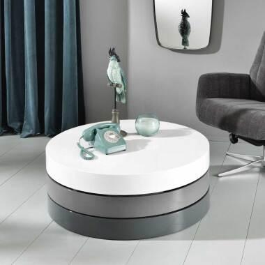 Design Wohnzimmertisch in Weiß und Grau schwenkbaren Platten