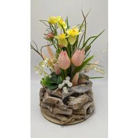 Frühlingsdeko Frühlingsgesteck Seidenblumen Blumengesteck Tulpen Narzissen