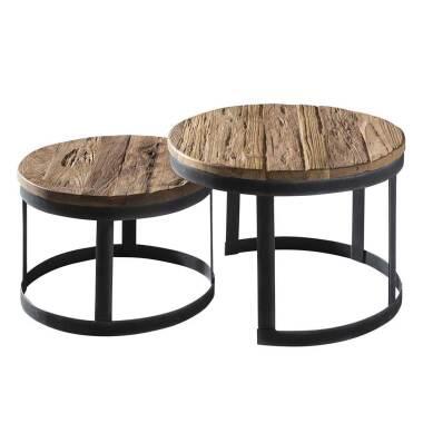 Zweisatz Tisch runde Tischform aus Teak...