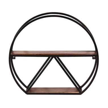 Rundes Regal aus Mangobaum Massivholz Metall