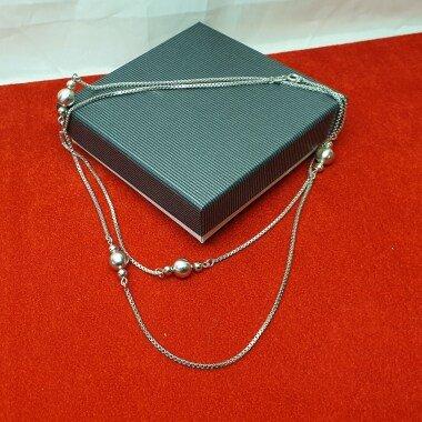 79, 5 cm Kette Halskette Kugelkette Silber 835 Kugeln Vintage Elegant Hk290