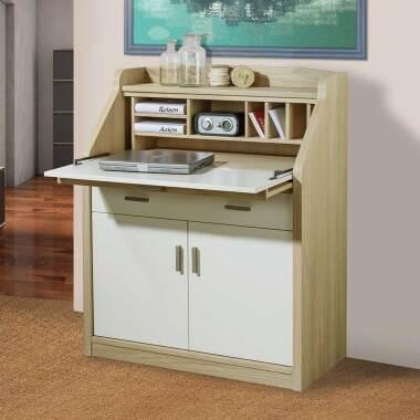 Sekretär in Eiche Bianco und Cremefarben modern