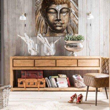 Flur Konsolentisch aus Teak Recyclingholz Landhaus rustikal