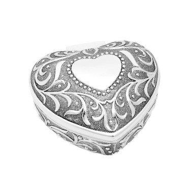 Schmuckdose in Herz-Form Antik Silber...