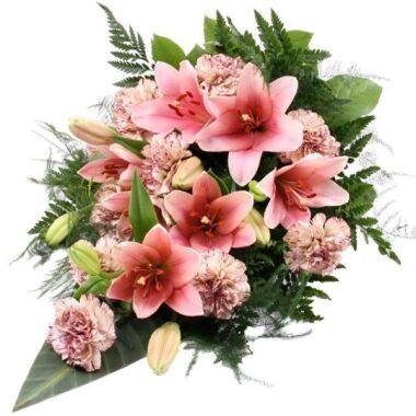 Trauerstrauß Rosa / Altrosa mit Lilien...