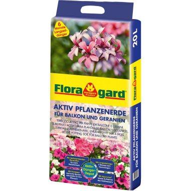 Floragard Aktiv Pflanzenerde für Balkon und Geranien 1 x 20 l