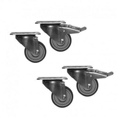 Räder-Set für Ausstellungsvitrinen mit einer Länge von 2960 mm