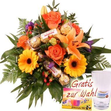 Blumen und Schokolade Premium-Strauß Goldy