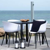 Terrassen Sitzgruppe in Schwarz und Weiß modern (fünfteilig)