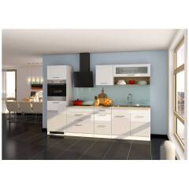 Küchenzeile 290 cm Weiß Hochglanz...