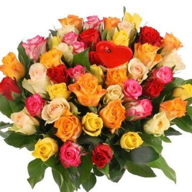 Rosen-Rendezvous 50 Rosen im Farbmix mit Herz