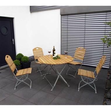 Terrassen Sitzgruppe aus Robinie Massivholz und Stahl klappbar (fünfteilig)