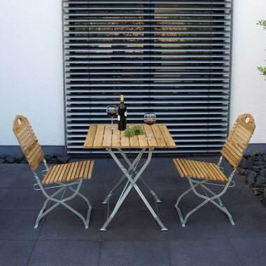 Balkon Sitzgruppe aus Robinie Massivholz und Stahl klappbar (dreiteilig)