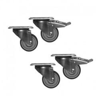 Räder-Set für Ausstellungsvitrinen mit einer Länge von 3830 mm