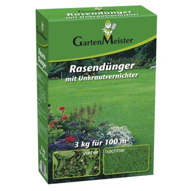 Rasendünger mit Unkrautvernichter, 3 kg für ca. 110 m²