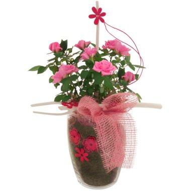 Exklusives Rosengesteck im Glas in Pink-Rosa