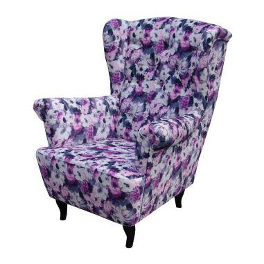 Sessel Ohrensessel Wohnzimmersessel Orlando Webstoff Blumenmuster
