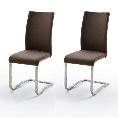 2 x Stuhl Arco Braun Freischwinger Leder
