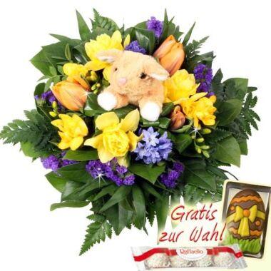 Kuschel Blumengruß Blumen mit Hase