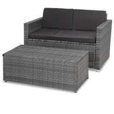 Polyrattan Zweisitzer-Sofa Grau mit Ottomane
