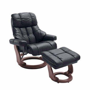 Leder Relaxsessel in Braun mit Hocker (zweiteilig)