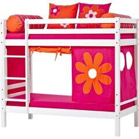 Massivholz-Stockbett in Weiß-Lila extra hoch
