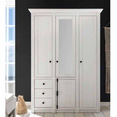 Schlafzimmer Kleiderschrank im Landhausstil Weiß Spiegel