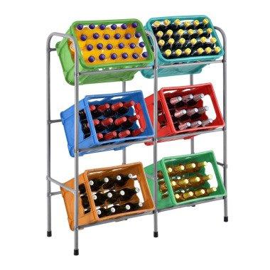 Juskys Getränkekistenregal Cool für 6 Kisten Metall 3 Ebenen 96