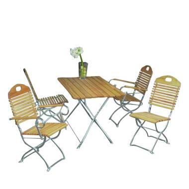Gartensitzgruppe aus Robinie massiv klappbar (fünfteilig)