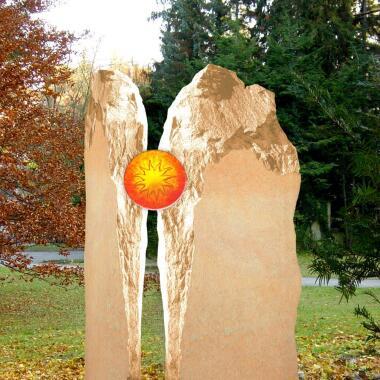 Einzel Grabstein mit Glaseinsatz zweiteilig...