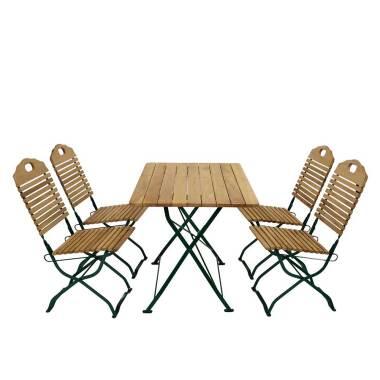 Esstisch mit Stühlen für Garten klappbar (fünfteilig)